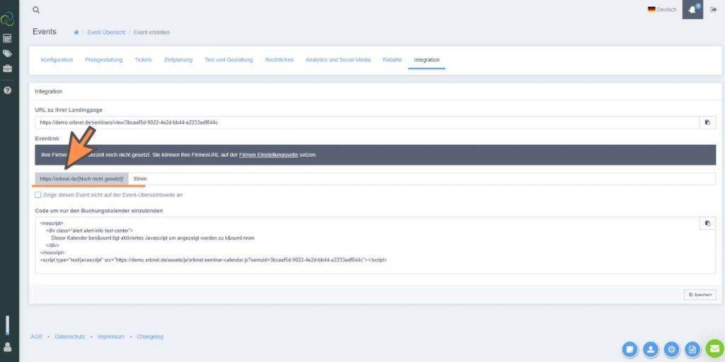 orbnet update eventlink definieren