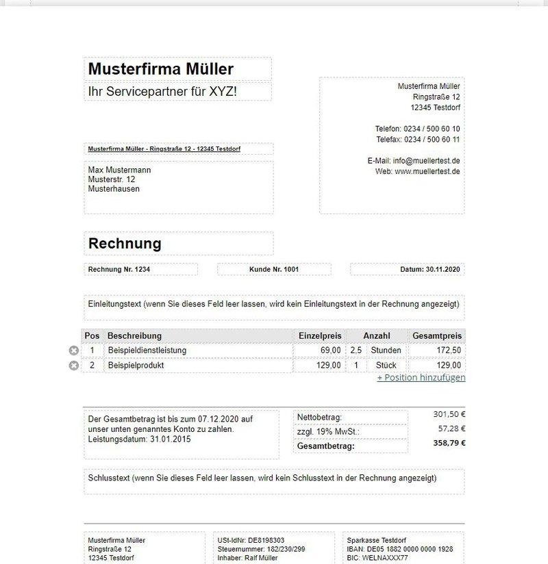 Der Rechnungsgenerator von Rechnungen-Muster.de