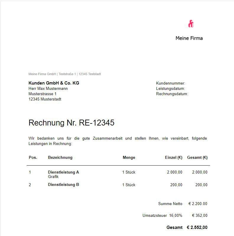 Rechnungsvorlage für Google Docs von orbnet.de
