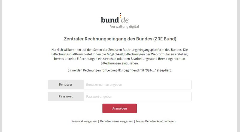 Zentraler Rechnungseingang des Bundes (ZRE Bund) - Login