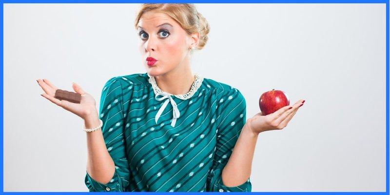 Schokolade oder Apfel