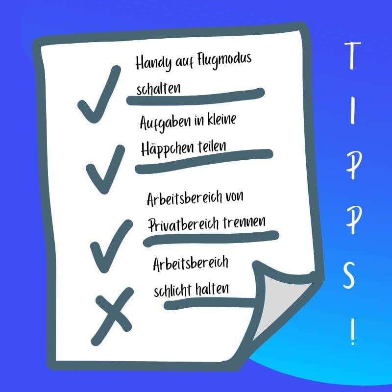 Liste mit Tipps fürs Zeitmanagement