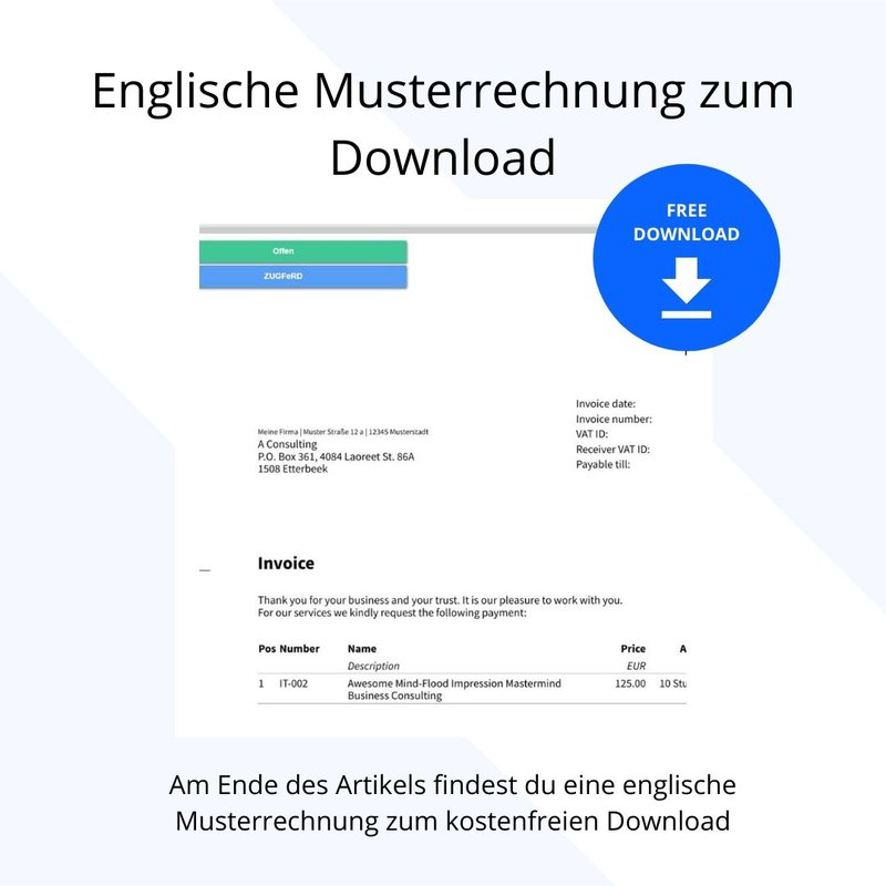 rechnung schreiben auf englisch musterrechnung download